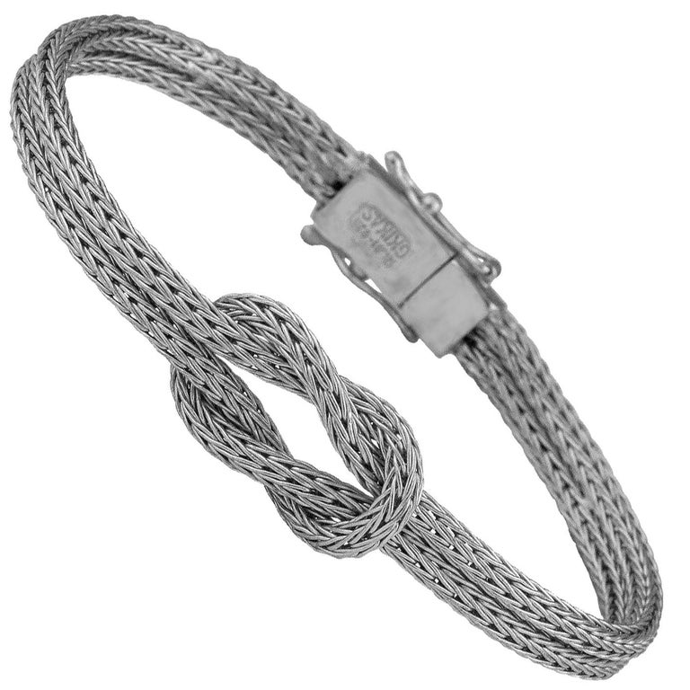 Georgios Collections 18 Karat White Gold Bangle Rope Bracelet with Hercules Knot For Sale