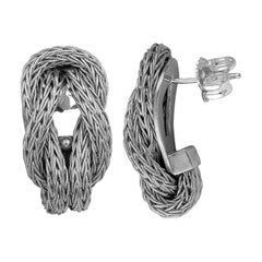 Georgios Collections 18 Karat White Gold Rope Earrings with Hercules Knot