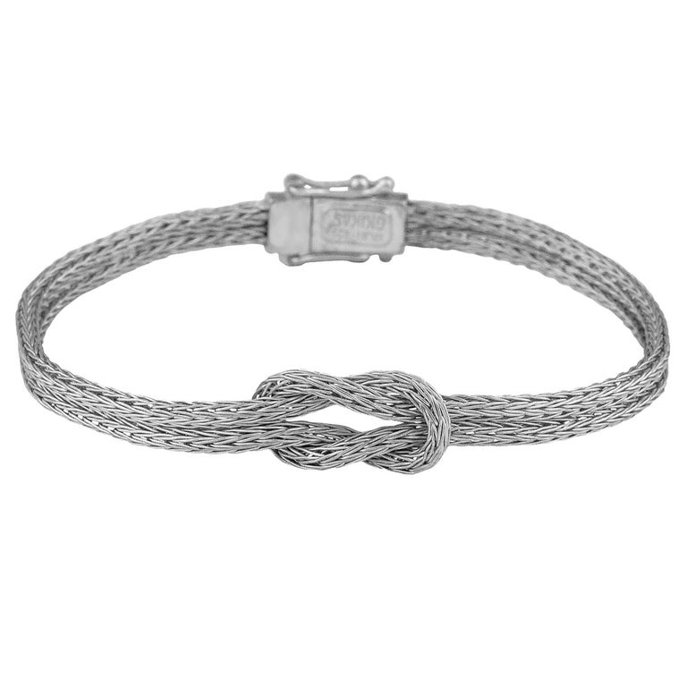 Georgios Collections 18 Karat White Gold Woven Hercules Knot Bracelet For Sale