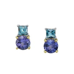 Tanzanite and Aquamarine 18 Karat Yellow White Gold Earrings