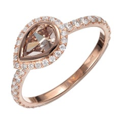Peter Suchy GIA Certified .51 Carat Brown Diamond Rose Gold Engagement Ring