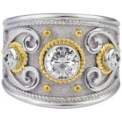 Georgios Collections 18 Karat White and Yellow Gold Diamond Granulated Ring