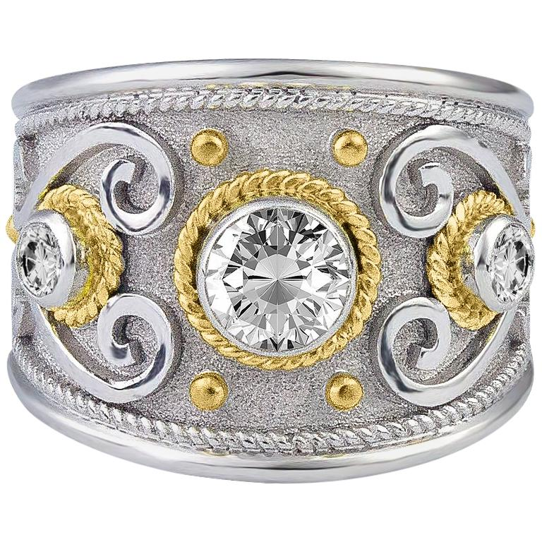 Georgios Collections 18 Karat White and Yellow Gold Diamond Granulated Ring For Sale