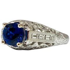 14 Karat Gold 1 Carat Total Weight Chatham Sapphire and Diamond Engagement Ring