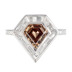 Peter Suchy GIA Certified 1.63 Carat Brown Diamond Platinum Engagement Ring