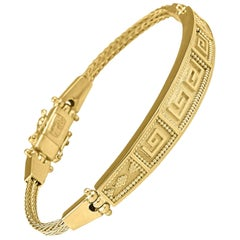 Georgios Collections 18 Karat Yellow Gold Greek Key Design Rope Bracelet