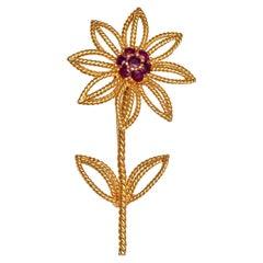 Tiffany & Co. Flower Brooch with 0.06 Carat of Fine Rubies in 18 Karat Gold