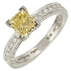 Peter Suchy GIA Certified 1.04 Carat Yellow Diamond Platinum Engagement Ring