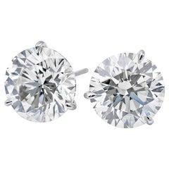 GIA Certified Diamond Stud Earrings 2.01 Carat F SI2