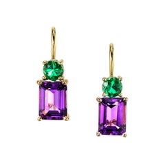 Emerald Cut Amethyst with Round Tsavorite 18 Karat Rose Yellow Gold Earrings