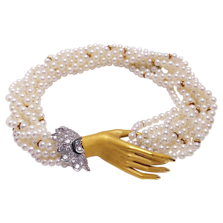 Carrera y Carrera 18Kt Yellow Gold, Twisted Pearl Bracelet & .44ct Diamond Hand