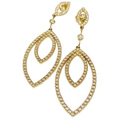 14 Karat Yellow Gold 2.35 Carat Diamond Drop Earrings