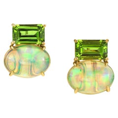 Emerald Cut Peridot with 9.87 Carat Oval Opal 18 Karat Yellow Gold Earrings