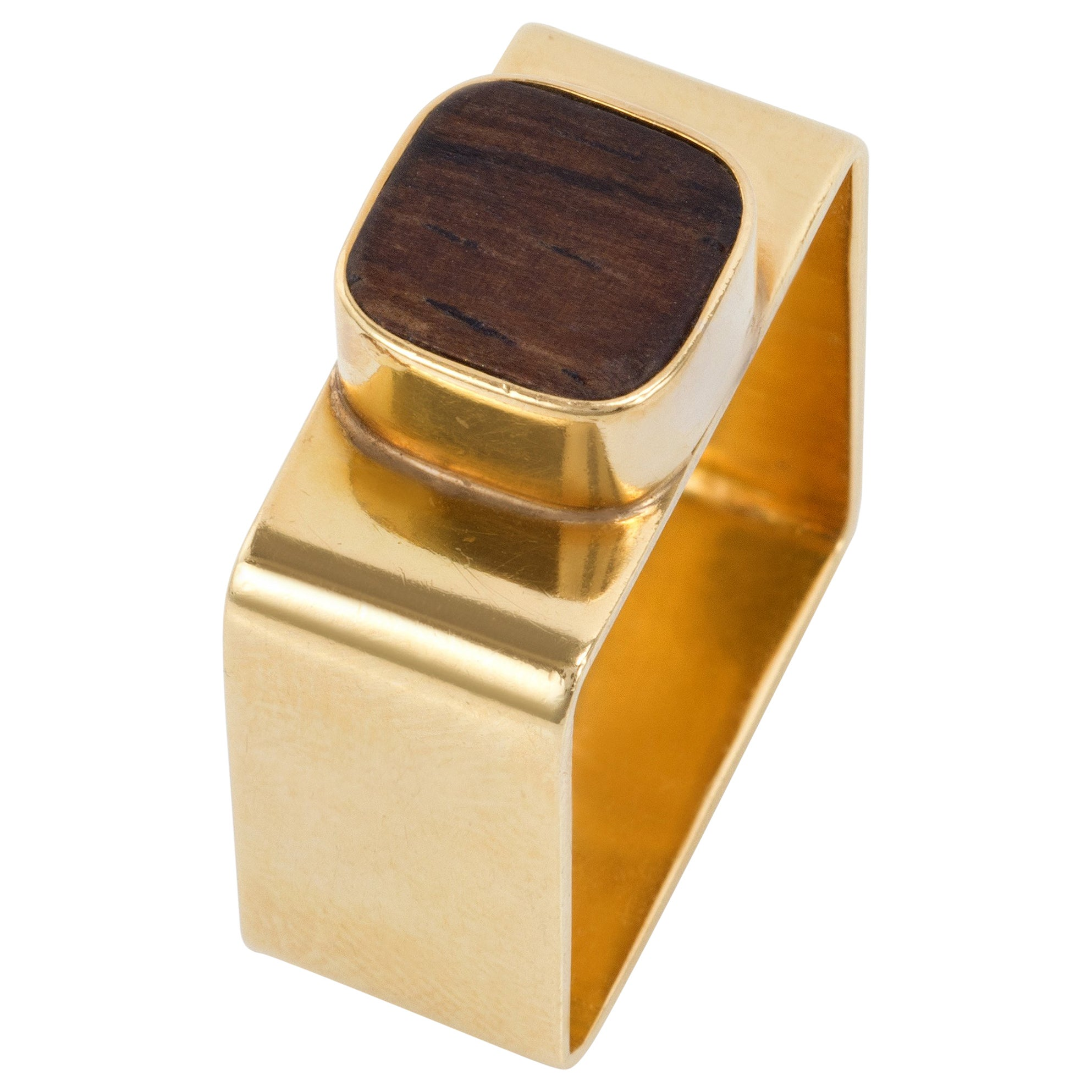 1960s Dinh Van for Cartier Wood and Gold Ring