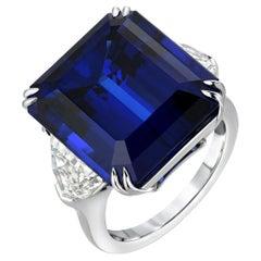 Tanzanite Emerald Cut Diamond Platinum Cocktail Blue Ring 20.51 Carat