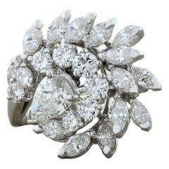 Midcentury Diamond Cluster Swirl Platinum Ring