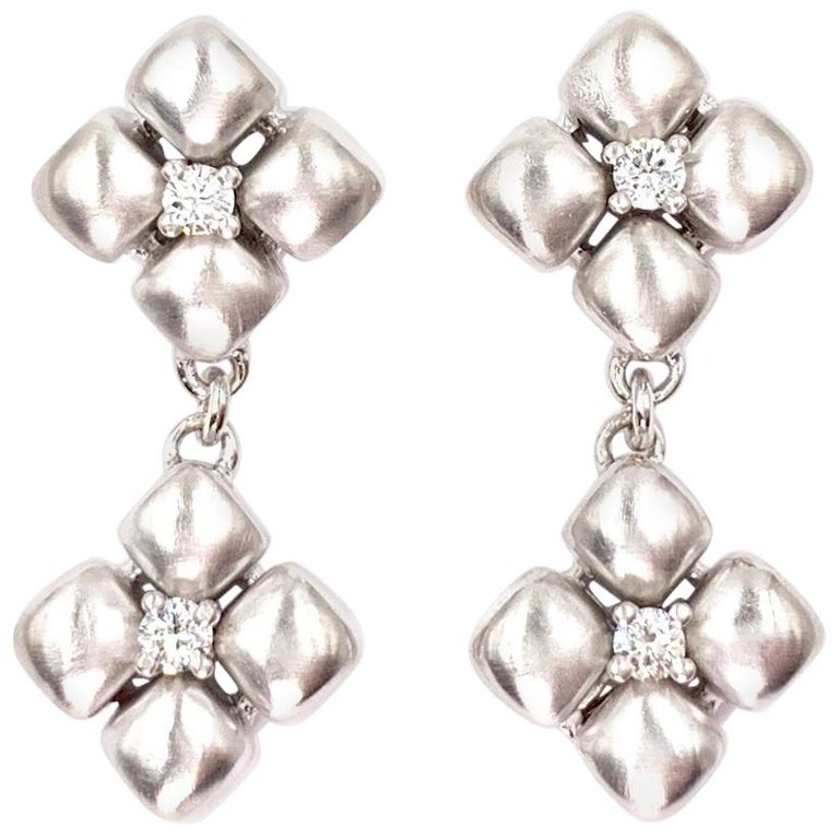 Marlene Stowe Platinum and 18 Karat Diamond Flower Drop Earrings For Sale