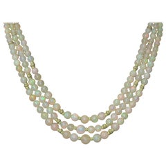 Ethiopian Opal Beaded Necklace with 17 Karat Yellow Gold Spacers