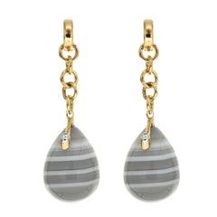 Valentin Magro Unique Agate Diamond Gold Drop Earrings