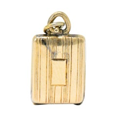 Art Nouveau 14 Karat Gold Opening Enamel Makeup Case Compact Charm