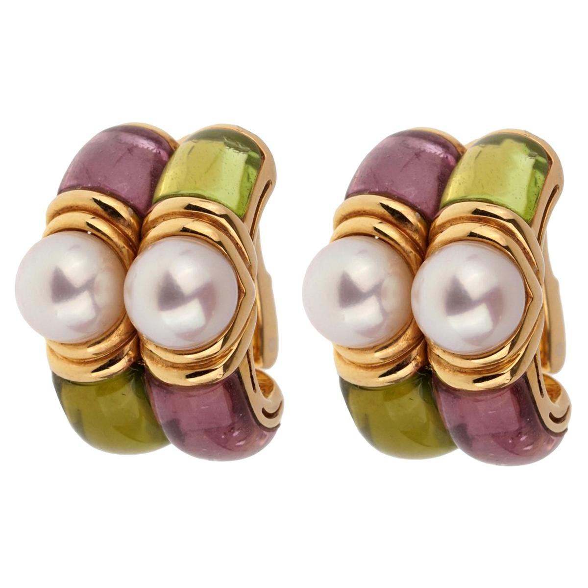 Bulgari Amethyst Peridot Gold Hoop Earrings