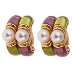 Bulgari Amethyst Peridot Gold Hoop Earrings