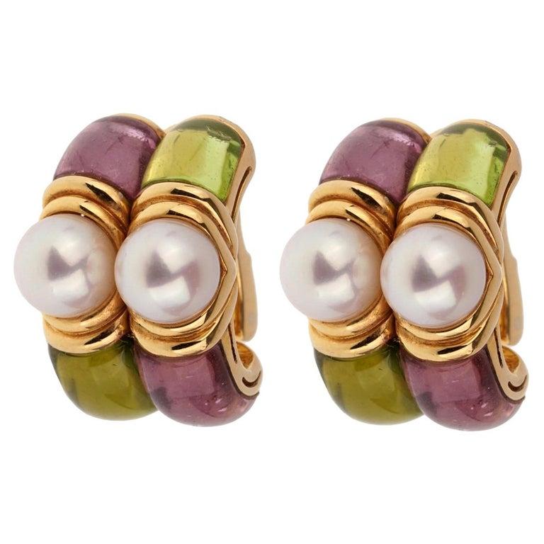 Bulgari Amethyst Peridot Gold Hoop Earrings For Sale