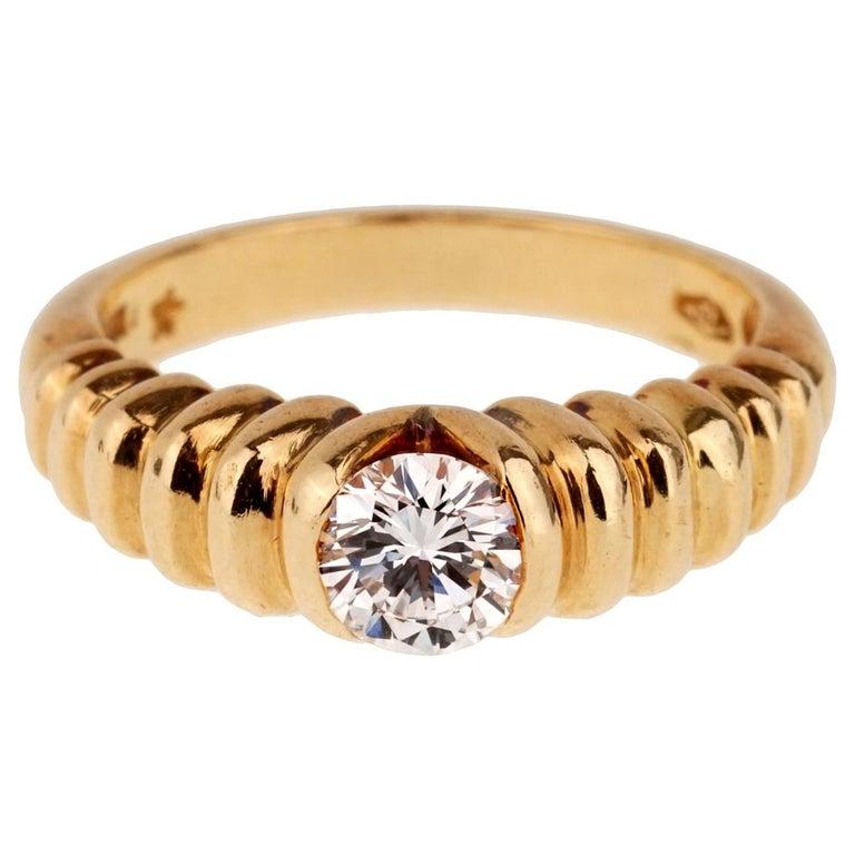 Bulgari Diamond Solitaire Gold Ring For Sale