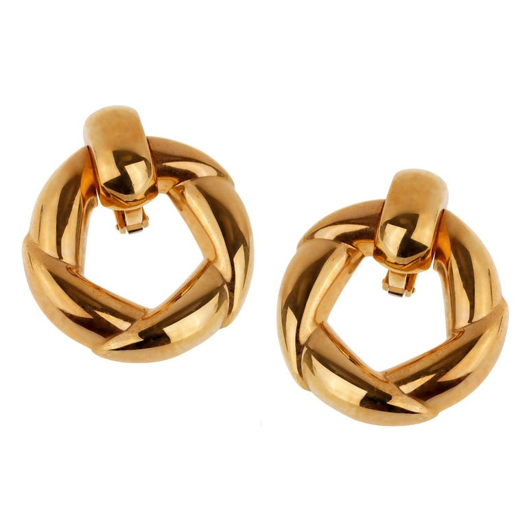 Cartier Vintage Gold Hoop Earrings For Sale
