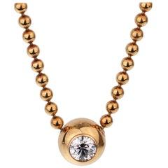 Cartier Vintage Solitaire Diamond Gold Necklace