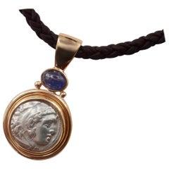 Michael Kneebone Alexander The Great Coin Blue Sapphire Pendant