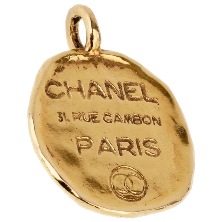 Chanel Paris Gold Pendant Necklace For Sale