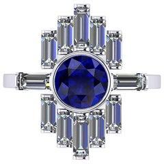 1.34 Carat Blue Sapphire and Diamond Baguettes Platinum Ring
