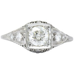 Early Art Deco 1.27 Carat Old European Diamond Platinum Engagement Ring