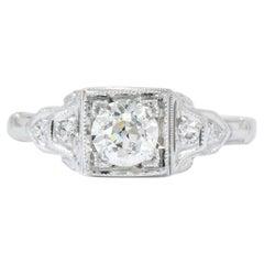 Art Deco 0.53 Carat Diamond 18 Karat White Gold Engagement Ring