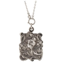E. Dropsy Silver Art Nouveau Sliding Pendant
