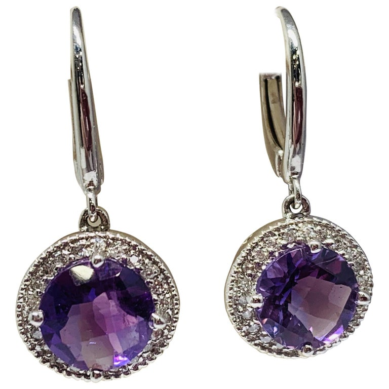 14 Karat White Gold 2.24 Carat Total Weight Amethyst and Diamond Drop Earrings For Sale