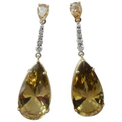 Michael Kneebone Golden Zircon Diamond Lemon Citrine Dangle Earrings