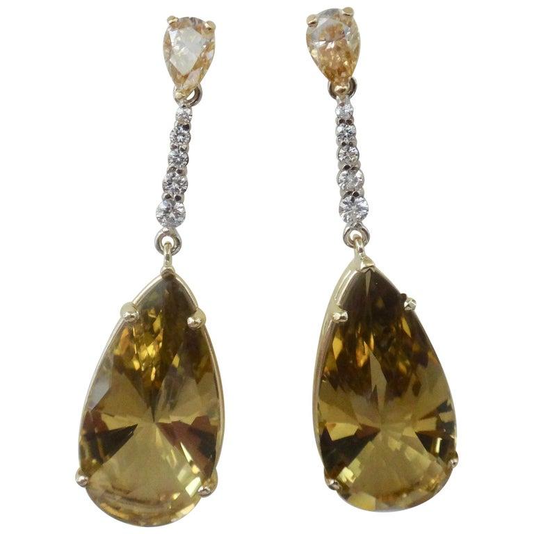 Michael Kneebone Golden Zircon Diamond Lemon Citrine Dangle Earrings For Sale