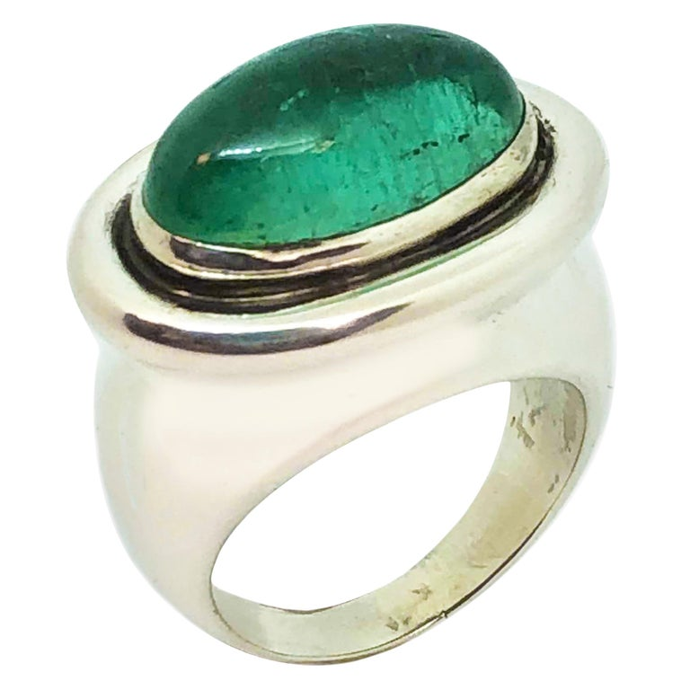 0872be3be Tiffany and Co. Paloma Picasso Large Emerald and Silver Ring For ...
