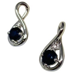 14 Karat White Gold 0.70 Round Blue Sapphire and Diamond Dangle Earrings