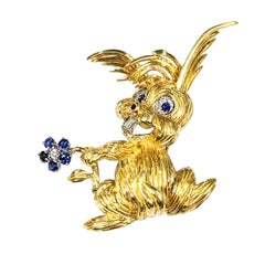 Vintage Whimsical Gold and Gem Set Large Bunny Rabbit Brooch