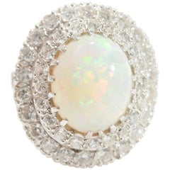 Double Halo Diamond Opal Ring 14 Karat White Gold