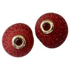 Michael Kneebone Strawberry Shell Mozambique Garnet Button Earrings