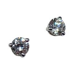 14 Karat White Gold 0.31 Carat Round Diamond Martini Style Stud Earrings