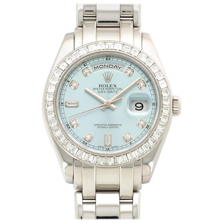 Rolex Platinum Day-Date Masterpiece Baguette Diamond Watch