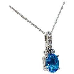 10 Karat White Gold 1.35 Carat Total Weight Blue Topaz and Diamond Necklace