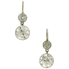 4.36 Carat Diamond Drop Earrings Belle Époque Dangle Two-Stone Round Platinum