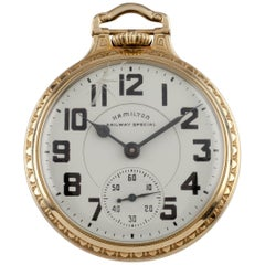 Hamilton Railway Special Gr 992B Open Face Gold Filled Pocket Watch 21 Jewel