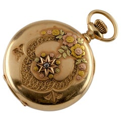 Waltham Full Hunter 14 Karat Yellow Gold Pocket Watch 16 Jewel, 1900